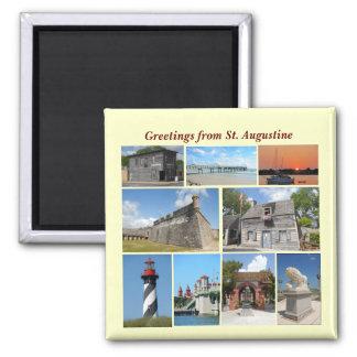 Saludos de St Augustine, la Florida Imán Cuadrado