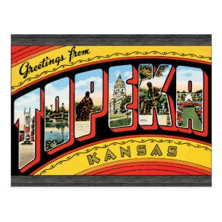 Saludos de Topeka Kansas, vintage Postal