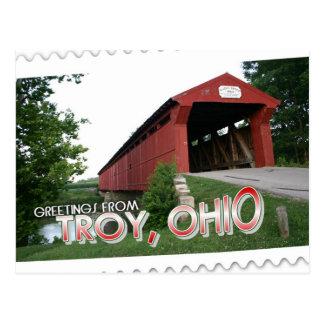 Saludos de Troy, Ohio Tarjeta Postal