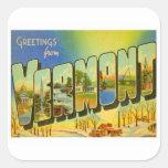 Saludos de Vermont los E.E.U.U. Calcomanía Cuadradas Personalizada