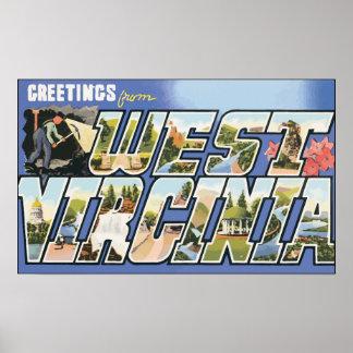 Saludos de Virginia Occidental, vintage Póster