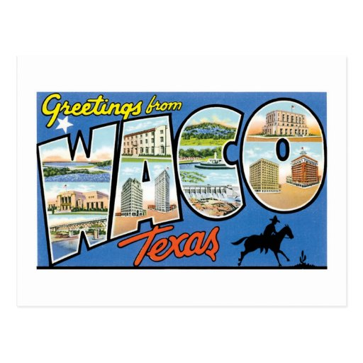 ¡Saludos de Waco, Tejas! Postal retra
