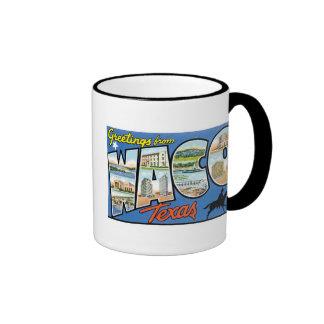 ¡Saludos de Waco, Tejas! Postal retra Taza A Dos Colores