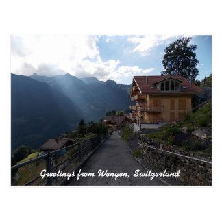Saludos de Wengen Suiza 1 Tarjeta Postal
