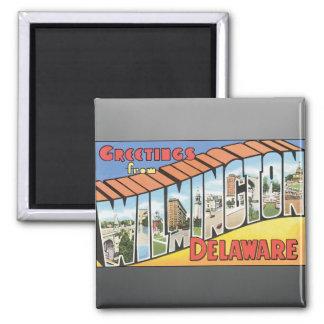 Saludos de Wilmington Delaware, vintage Imán De Nevera