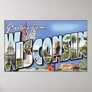 Saludos de Wisconsin, vintage Póster
