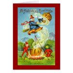 Saludos de Witchy Halloween del vintage Felicitación