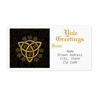 Saludos de Yule - etiqueta de envío y etiqueta #2