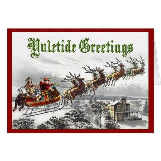 Saludos de Yuletide de Santa Tarjeta De Felicitación
