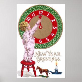 Saludos del Año Nuevo del reloj y del niño del mué Poster
