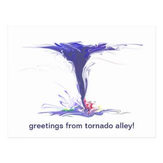 ¡saludos del callejón de tornado! postales
