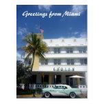 saludos del coche del hotel tarjeta postal