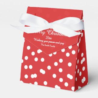 Saludos del confeti del navidad rojo y blanco cajas para detalles de boda