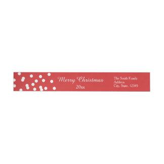 Saludos del confeti del navidad rojo y blanco etiquetas para remite
