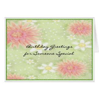 Saludos del cumpleaños - alguien especial tarjeta de felicitación