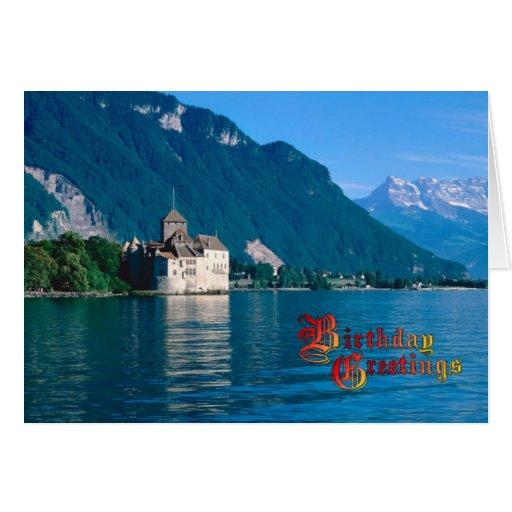 Saludos del cumpleaños - castillo francés Chinon Tarjeton