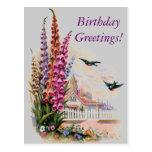 Saludos del cumpleaños de la flora del vintage tarjeta postal