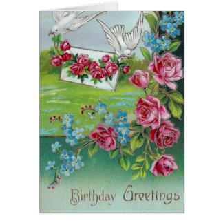 Saludos del cumpleaños de las palomas del vintage felicitacion