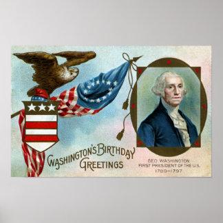 Saludos del cumpleaños de Washington Póster