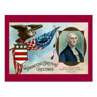 Saludos del cumpleaños de Washington Tarjeta Postal