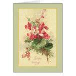 Saludos del cumpleaños del vintage de la begonia felicitaciones