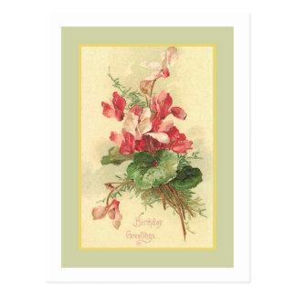 Saludos del cumpleaños del vintage de la begonia postal