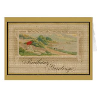 Saludos del cumpleaños del vintage felicitacion