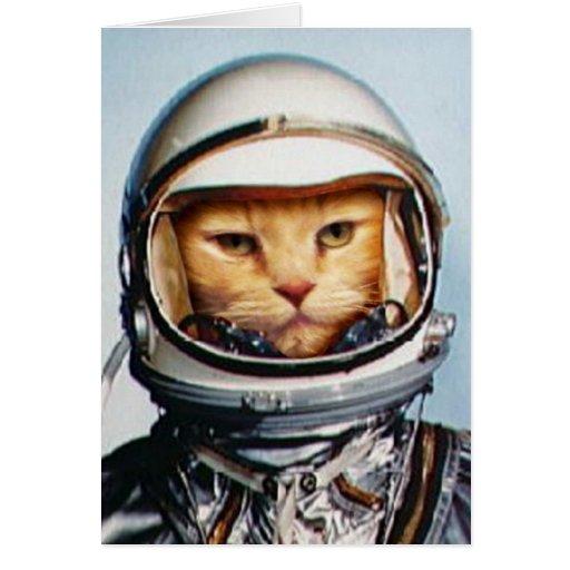 Saludos del cumpleaños: Gato retro del astronauta Felicitación