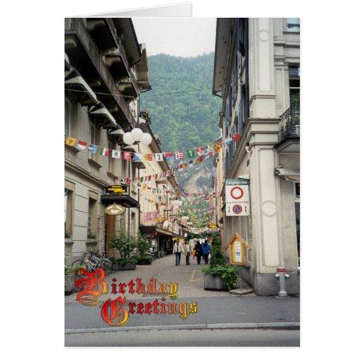 Saludos del cumpleaños - Interlaken, centro Tarjeta De Felicitación