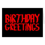Saludos del cumpleaños. Rojo y negro Felicitación