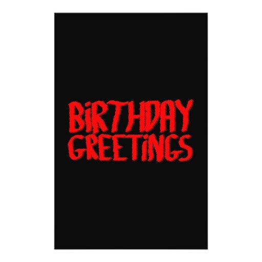 """Saludos del cumpleaños. Rojo y negro Folleto 5.5"""" X 8.5"""""""