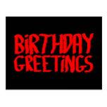 Saludos del cumpleaños. Rojo y negro Postal