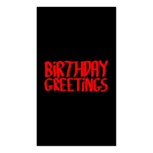 Saludos del cumpleaños. Rojo y negro Tarjetas De Visita