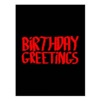 Saludos del cumpleaños Rojo y negro Tarjetas Postales