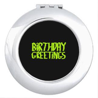 Saludos del cumpleaños. Verde y negro. Personaliza Espejos De Viaje