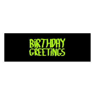 Saludos del cumpleaños. Verde y negro. Tarjetas De Visita Mini