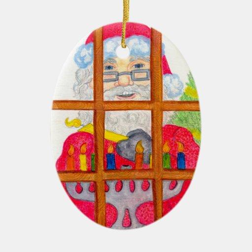 Saludos del día de fiesta adorno navideño ovalado de cerámica