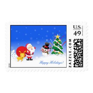 Saludos del día de fiesta de Santa, del reno y del Sellos Postales