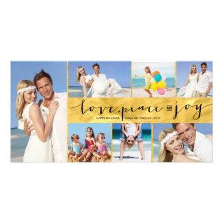 Saludos del día de fiesta del collage de la hoja tarjeta fotográfica personalizada