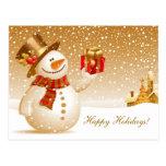 Saludos del día de fiesta del muñeco de nieve del  tarjetas postales