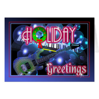 Saludos del día de fiesta - guitarra y teclado tarjetas