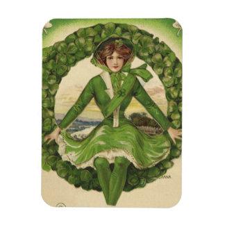 Saludos del día de St Patrick del vintage, trébol Imán De Vinilo