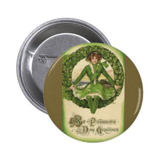 Saludos del día de St Patrick del vintage, trébol Pin Redondo 5 Cm