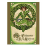 Saludos del día de St Patrick del vintage, trébol Postal