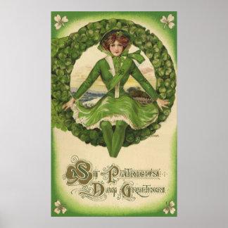 Saludos del día de St Patrick del vintage, trébol Póster