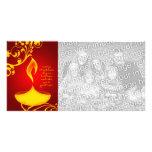 saludos del diwali: luz elegante tarjeta fotografica personalizada