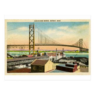 Saludos del embajador Bridge Detroit Tarjetas Postales