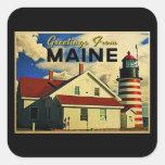Saludos del faro de Maine Calcomania Cuadradas Personalizada