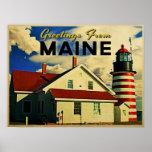 Saludos del faro de Maine Posters