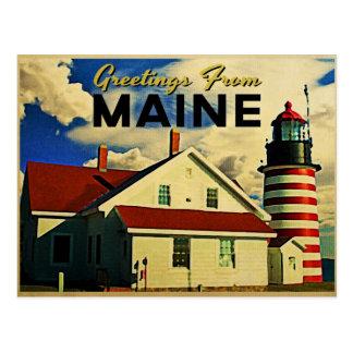 Saludos del faro de Maine Tarjeta Postal